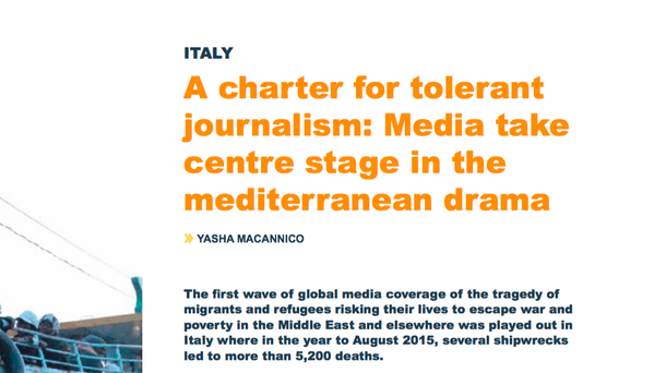 taly - A charter for tolerant journalism: Media take centre stage in the Mediterranean drama
