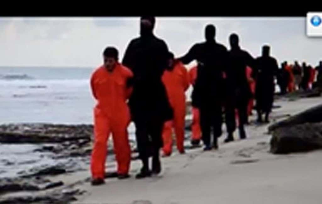 Video of 21 Egyptian Coptic Christians being marched along a Libyan beach. (Photo: YouTube)