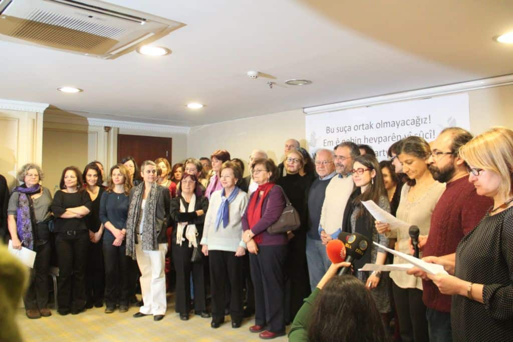 The photo is from the press conference that took place on 11 January 2016, announcing the peace appeal by 1,128 academics. Esra Mungan, Muzaffer Kaya, Kıvanç Ersoy and Meral Camcı are four academics currently held in pre-trial detention in Istanbul after they held a press conference on 10 March 2016, reiterating their support for a statement they had signed in January. The appeal for peace criticizing ongoing curfews and security operations in south eastern Turkey and calling for a resumption of peace talks between Turkey and the armed Kurdistan Workers' Party (PKK). A further 1,084 academics since signed to appeal, bringing the total to 2,212 signatories.