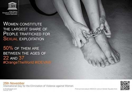 Screen shot of UNESCO poster marking International Day for the Elimination of Violence Against Women