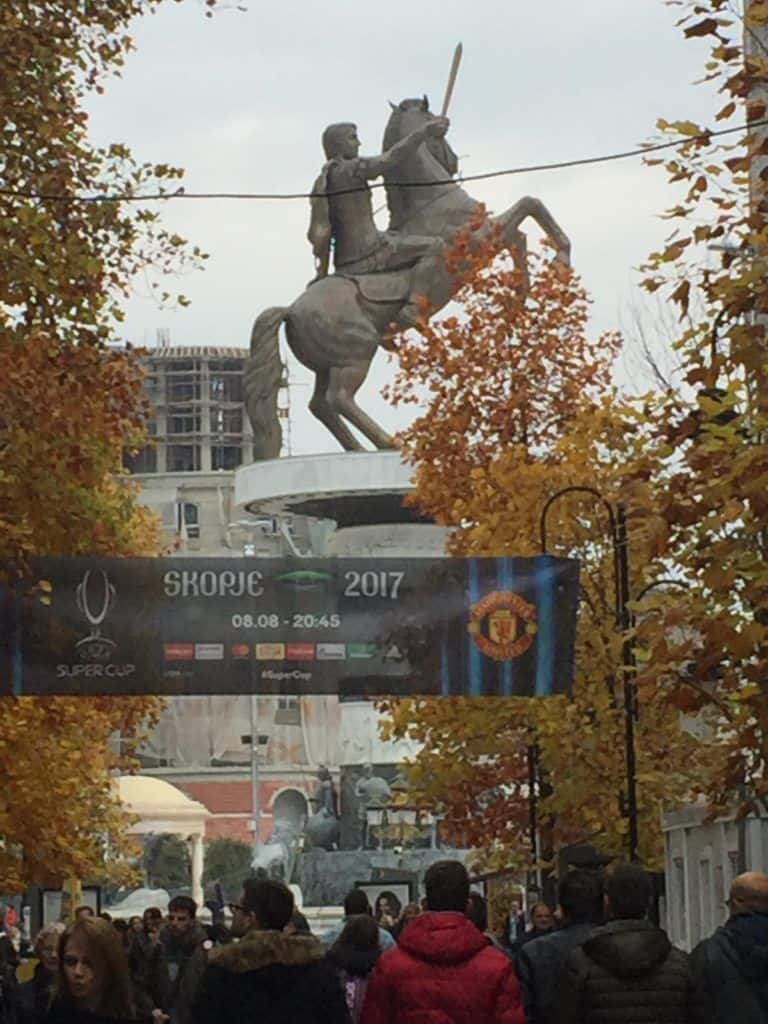 THE GREATEST- Statue of Alexander the Great, raging eight floors above ground in the centre of Skopje.